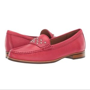 DRIVER CLUB USA Studded Pink Leather Moccasins 6.5
